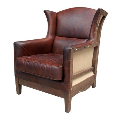 Melange Home Deconstructed Leather Wing Chair