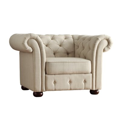 Darby Home Co Fairlawn Tufted Button Arm Chair in Beige