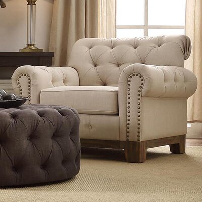 Three Posts New Britain Tufted Scroll Arm Chair