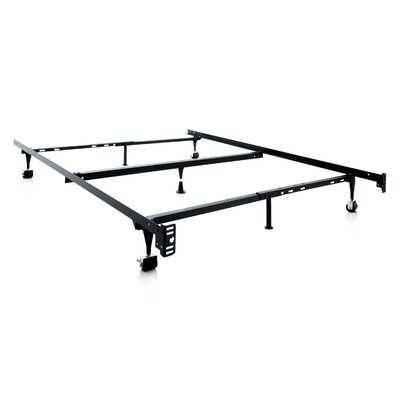 Malouf Heavy Duty 7-Leg Adjustable Metal Bed Frame with Center Support and Rug Roller