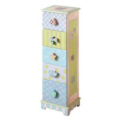 Fantasy Fields Crackled Rose 5 Drawer Chest