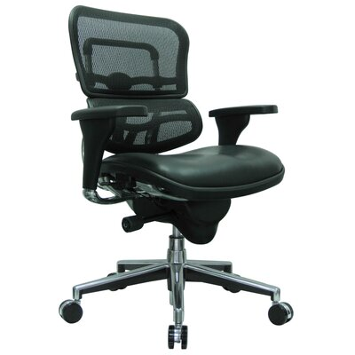 Eurotech Seating Ergohuman Mid-Back Leather/Mesh Chair with Arms