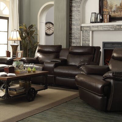 Wildon Home ® MacPherson Power Leather Reclining Loveseat