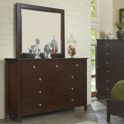 Flair Martin 9 Drawer Dresser with Mirror