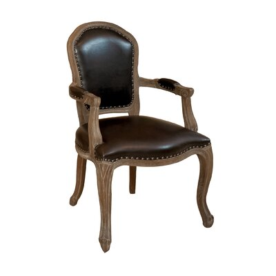 Home Loft Concepts Carolina Leather Weathered Wood Arm Chair