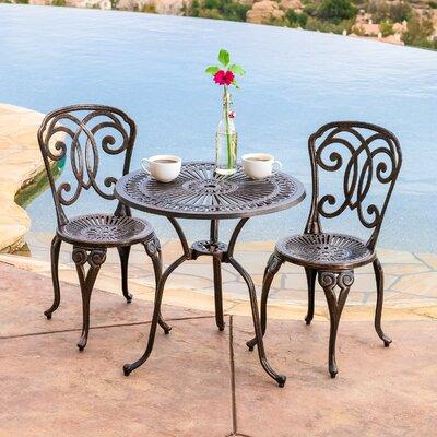 Home Loft Concepts Stella 3 Piece Cast Aluminum Outdoor Bistro Set U0026  Reviews | Wayfair