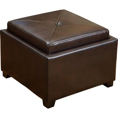 Home Loft Concepts Drexel Leather Tray Top Storage Ottoman