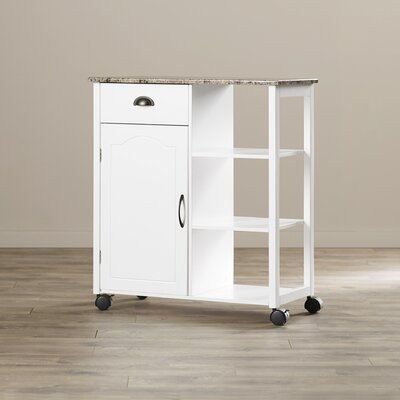 Andover Mills Irma Kitchen Cart with Marble Top