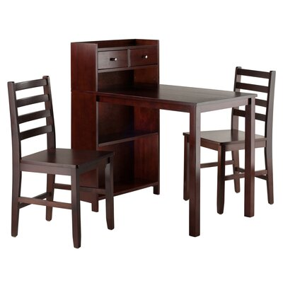 Latitude Run Brent 3 Piece Writing Desk Set with Storage Shelf