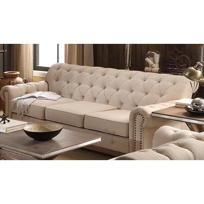 Three Posts New Britain Tufted Scroll Sofa