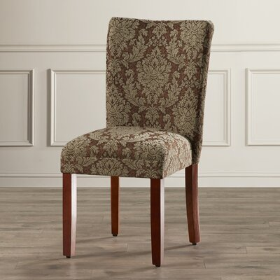 Three Posts Hazelwood Upholstered Damask Parsons Chair (Set of 2)