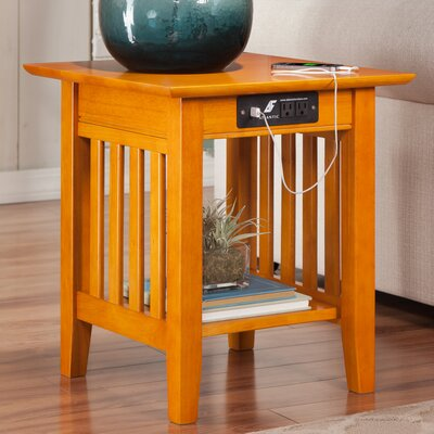 Three Posts Danube End Table with Charging Station