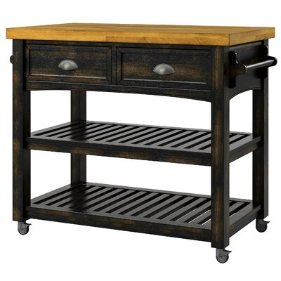 Three Posts Fortville Kitchen Cart with Wood