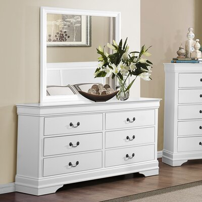 Alcott Hill Waynesburg 6 Drawer Dresser with Mirror