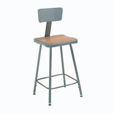 Nexel Height Adjustable Steel Hardboard Square Seat Stool with Backrest