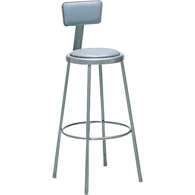Nexel Height Adjustable Upholstered Seat Stool with Backrest