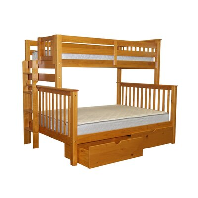 Bedz King Mission Twin over Full Bunk Bed with Storage