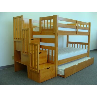 Bedz King Twin over Twin Bunk Bed with Trundle and Storage