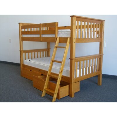 Bedz King Mission Twin over Twin Bunk Bed with Drawers