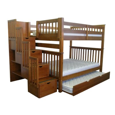 Bedz King Full over Full Bunk Bed with Trundle