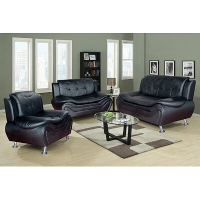 Beverly Fine Furniture Linda 3 Piece Leather Liv..