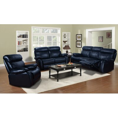 Beverly Fine Furniture Omaha 3 Piece Bonded Leather Living Room Set
