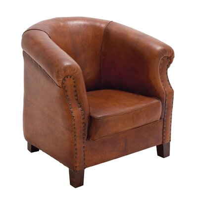 Cole & Grey Real Leather Captains Barrel Chair