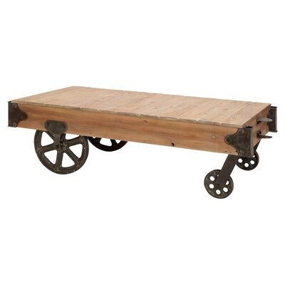 Cole & Grey Loft Wood Utility Cart / Coffee Table