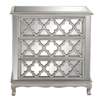 Cole & Grey 3 Drawer Wood Mirror Dresser