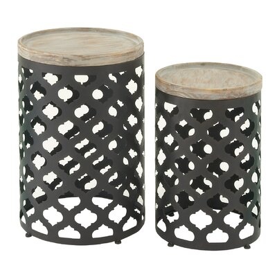 Cole & Grey 2 Piece Metal Wood End Set
