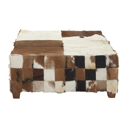 Cole & Grey Wood Hide Square Ottoman