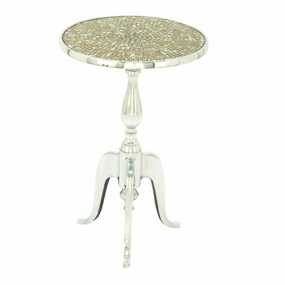 Cole & Grey Aluminum and Glass Mosaic Round End Table