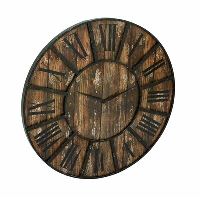 cole grey oversized metal wood 36 quot wall clock reviews wayfair