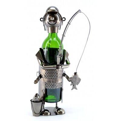 Three Star Im/Ex Inc. Fisherman with Pale 1 Bottle Tabletop Wine Rack