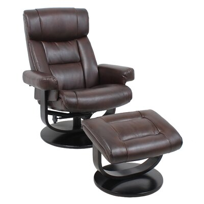Global Furniture Leather Recliner and Ottoman