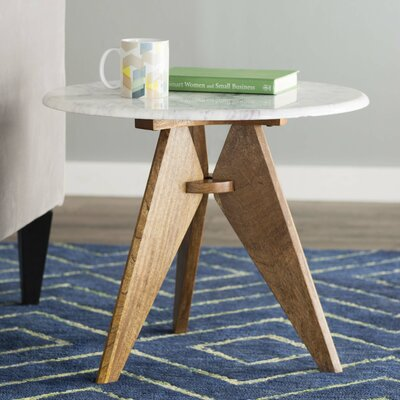 Mercury Row Seleucia Tall Marble and Wood End Table