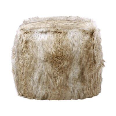 Best Home Fashion, Inc. Platinum Faux Frost Fox Pouf Ottoman