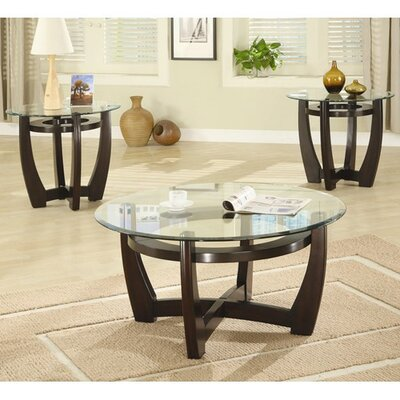 Red Barrel Studio High West 3 Piece Coffee Table with Glass Top Set