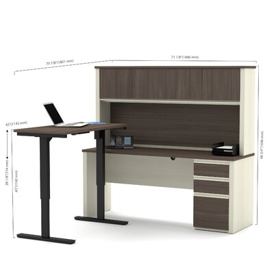 Red Barrel Studio Bormann Learning Desk with Hutch and Height Adjustable Table