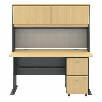 Bush Business Furniture Series A Office Desk with Hutch and 2 Drawers Mobile Pedestal