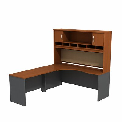 Bush Business Furniture Series C L Shaped Corner Desk with 2 Door Hutch