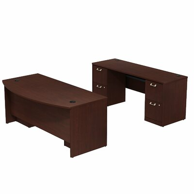 Bush Business Furniture Quantum Double Pedestal Bow Front Desk Office Suite