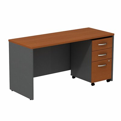Bush Business Furniture Series C Computer Desk with 3-Drawer Mobile Pedestal