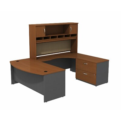 Bush Business Furniture Series C Bowfront RH U-Desk with 2-DrawerDoor Hutch and 2-Drawer Lateral File