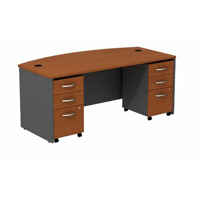Bush Business Furniture Series C Bow Computer Desk Shell with 2 Mobile Pedestals
