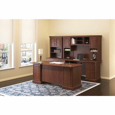 Bush Business Furniture Syndicate Double Pedestal Office Desk with Hutch