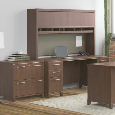 Bush Business Furniture Enterprise Double Pedestal Credenza Desk with Hutch