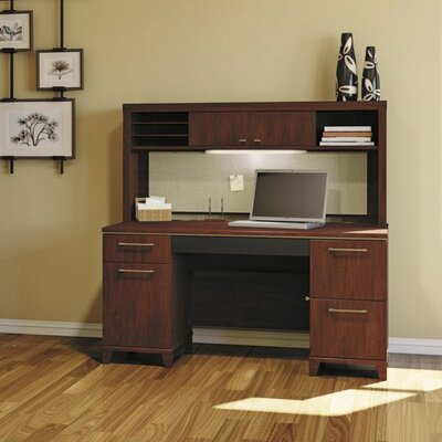 Bush Business Furniture Enterprise Double Pedestal Office Desk with Hutch and Lateral File