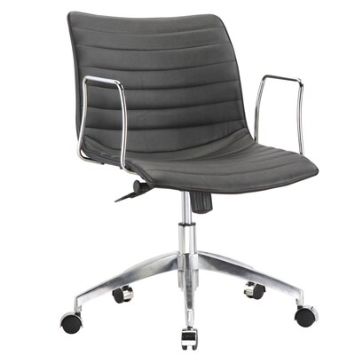 Fine Mod Imports Comfy Mid-Back Leather Office Chair with Arms
