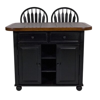 Loon Peak Kitchen Island with Inlaid Granite Top